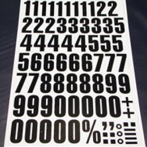 Sheet of Magnetic Numbers 43mm Black on White