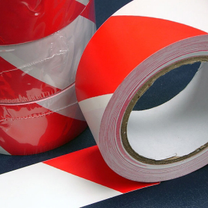 PVC Hazard Warning Tape Adhesive Red & White 25mm x 33m