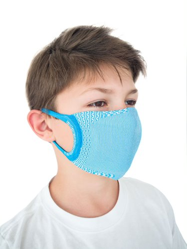FMI Washable Reusable Face Mask Covering Childrens / Kids LIGHT BLUE Antibacterial