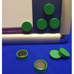 Green Memo Magnets 25mm Diameter (Pack of 10)
