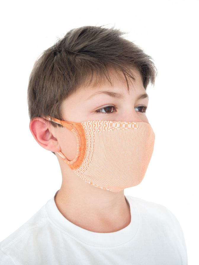 FMI Washable Reusable Face Mask Covering Childrens / Kids ORANGE Antibacterial